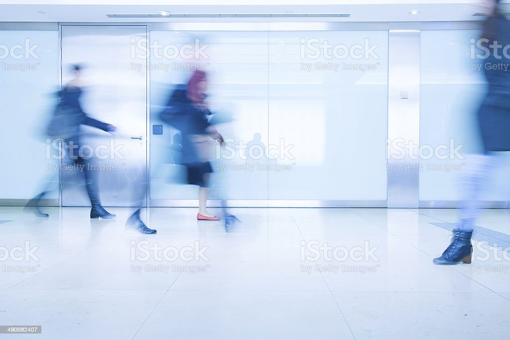 Blur Movement people in Rush Hour train station, London, UK stock photo