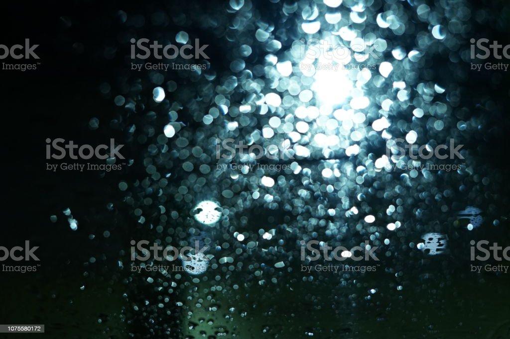 Blur Night city lights behind rainy window
