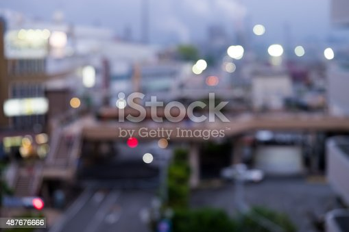 istock Blur of a city environment with power plants as background. 487676666