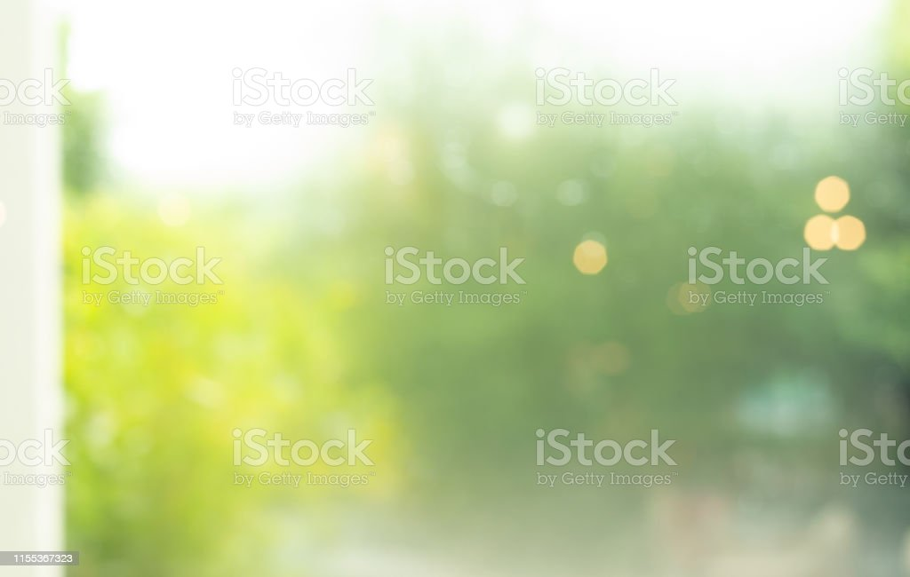 Blur Of Abstract Green Garden Background From Window Stock Photo