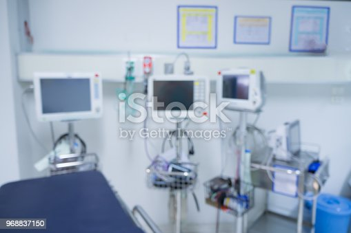 istock Blur of equipment and medical devices in modern operating emergency room take with art lighting and blue filter,ready for operation,interior with the anesthesiology machine,OR 968837150