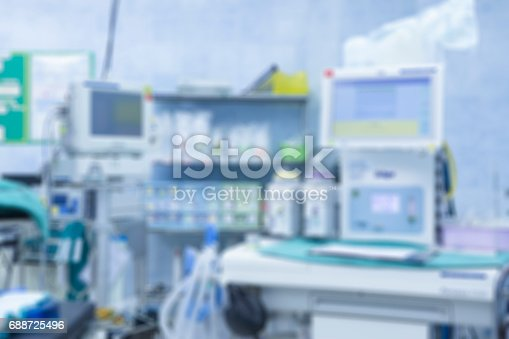 istock Blur of equipment and medical devices in modern operating room take with art lighting and blue filter,ready for operation,interior of the operating room with the anesthesiology machine 688725496