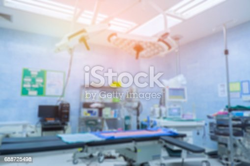 istock Blur of equipment and medical devices in modern operating room take with art lighting and blue filter,ready for operation,interior of the operating room with the anesthesiology machine 688725498