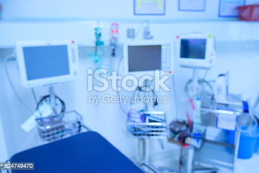 istock Blur of equipment and medical devices in modern operating room take with art lighting and blue filter,ready for operation,interior of the operating room with the anesthesiology machine 824749470