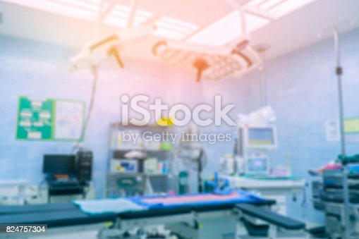 istock Blur of equipment and medical devices in modern operating room take with art lighting and blue filter,ready for operation,interior of the operating room with the anesthesiology machine 824757304
