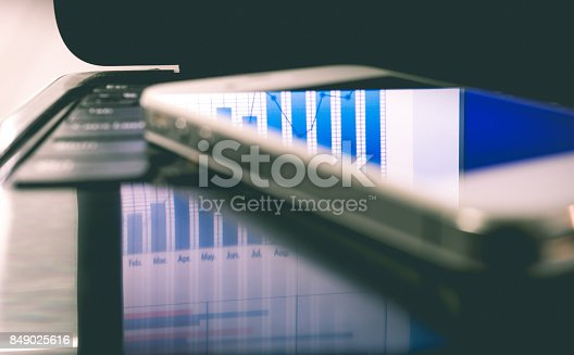 istock Blur of reflect business graph on smartphone.Analysis/financial concept 849025616