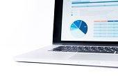 istock Blur of statistics charts displayed on laptop screen. 638508316