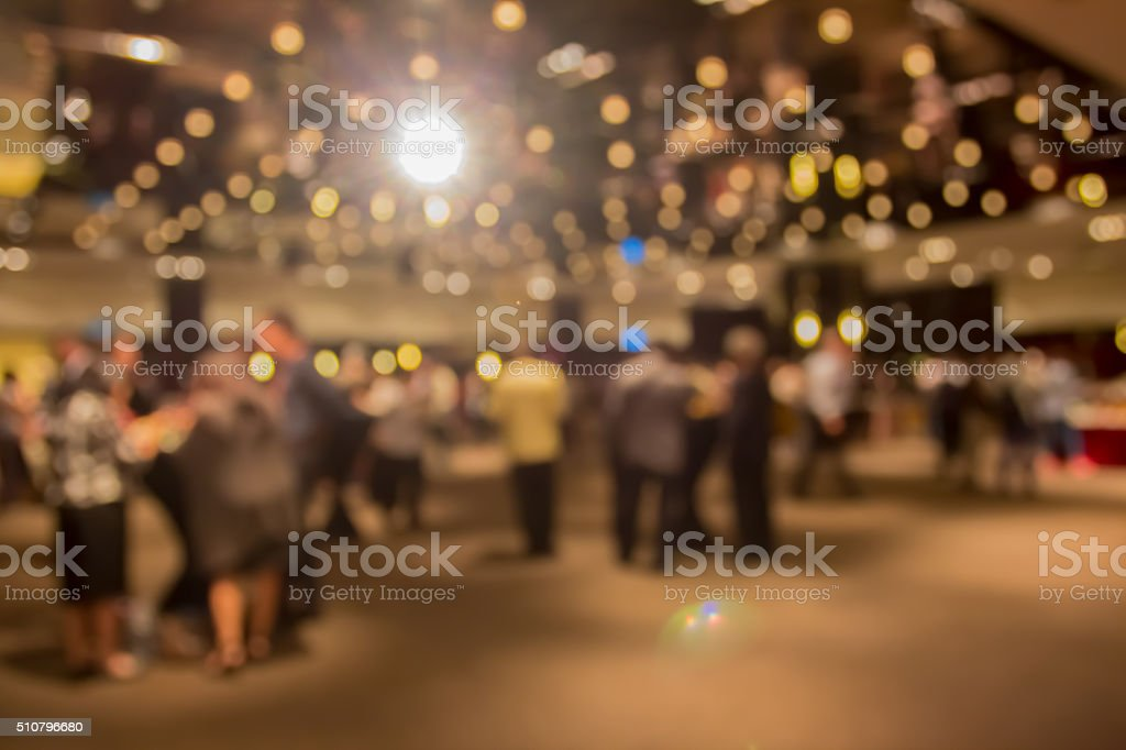 blur people at  dinner party in dining room stock photo