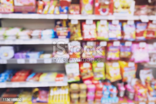 836871040 istock photo blur photo background of snacks and consumer product colorful in supermarket shop shelf. Mini-mart shopping convenience stores are a new alternative for the urban people concept 1136188832