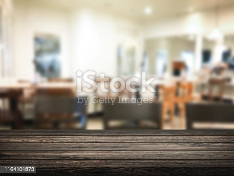 886308526 istock photo Blur restaurant or desserts cafe interior store background. Wooden shelf backdrops for design. 1164101873
