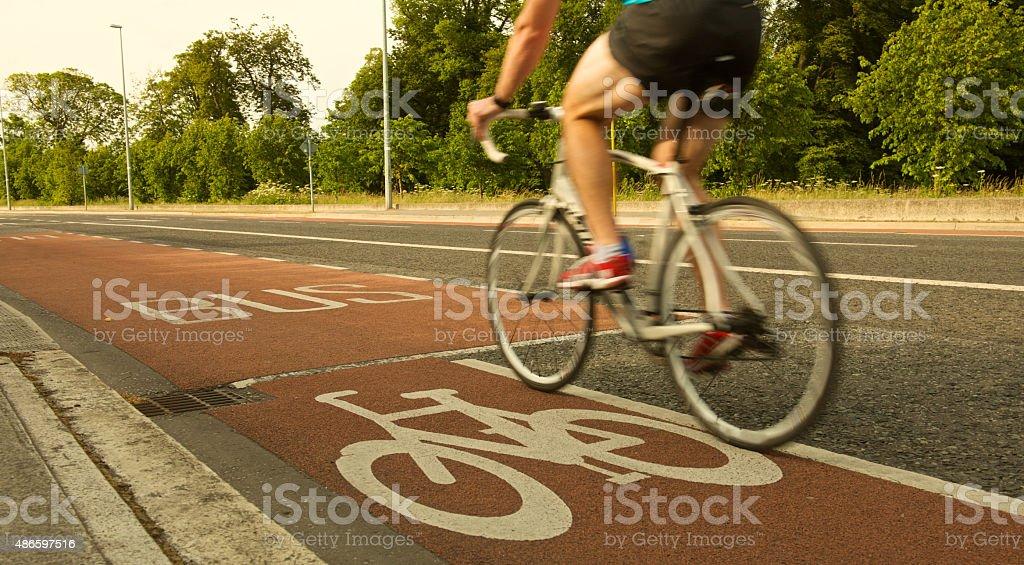blur Straße Rennrad und Radfahrer Fahrrad im bus lane – Foto