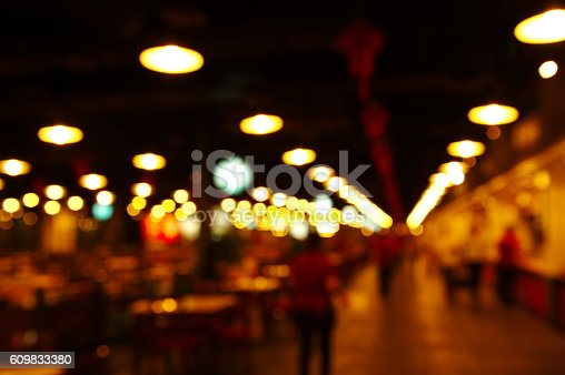 877010878 istock photo blur row light lamp in shop bar city at night 609833380