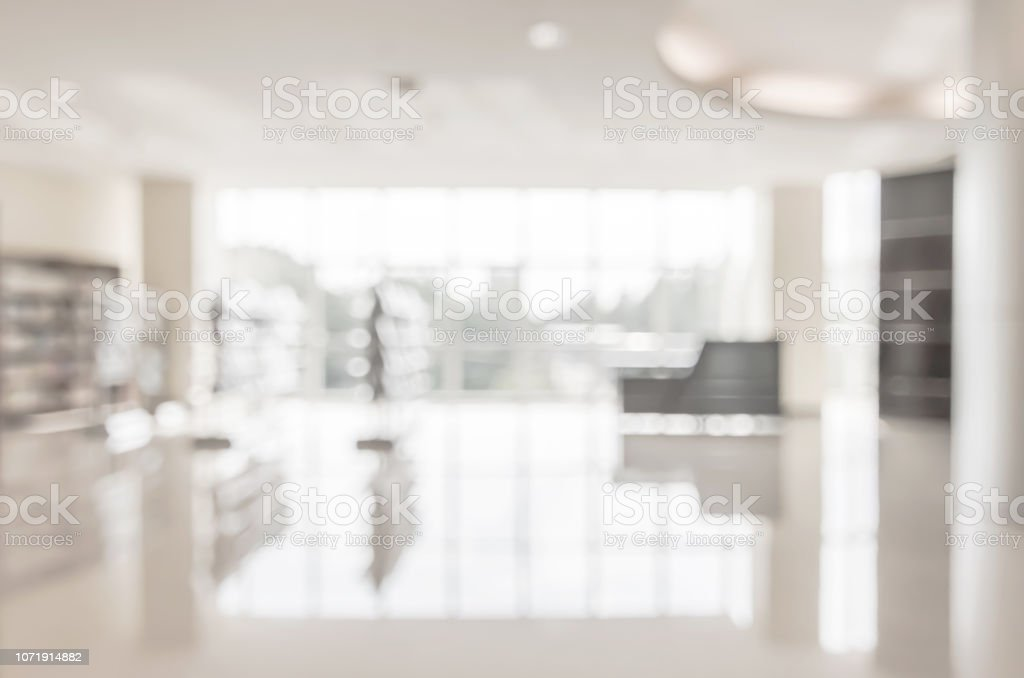 Blur school library or office lobby waiting area for educational business background Blur school library or office lobby waiting area for educational business background Abstract Stock Photo