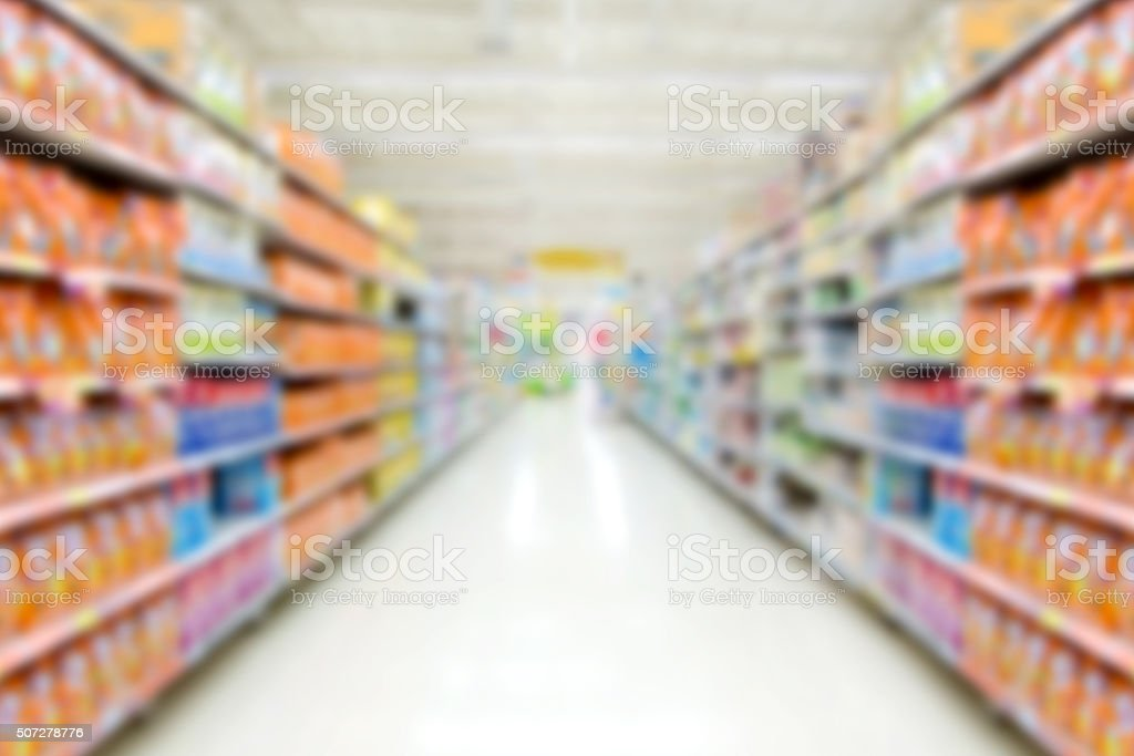Blur shelf in department store stock photo