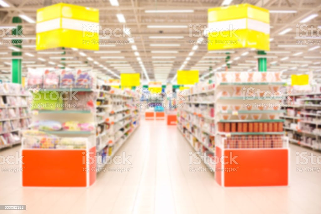 Blur shelf in department store stock photo