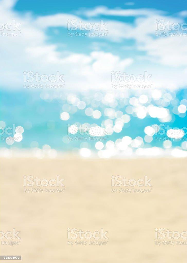 Blur summer white sand beach with sparkling sea water stock photo