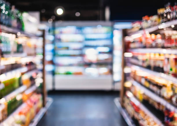 Blur Supermarket aisle Shelf Interior perspective Supermarket aisle Blur background Product shelf Interior perspective Retail Consumer business aisle stock pictures, royalty-free photos & images