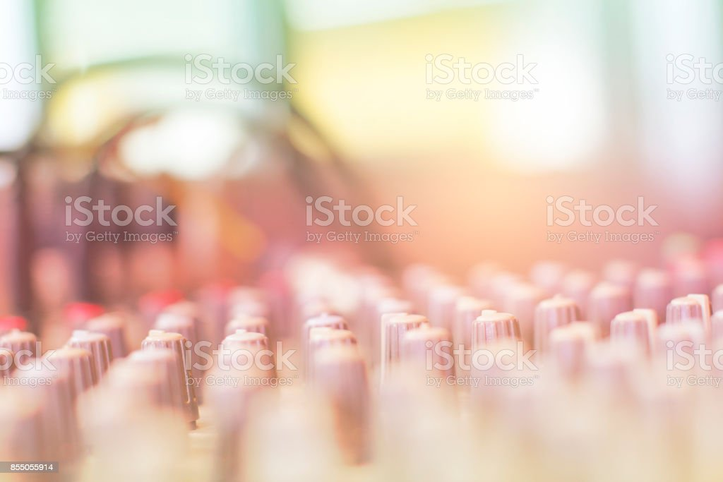 Blur the audio mixer in the recording room. stock photo