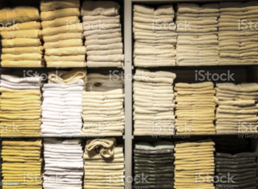 blur towel in shelf stock photo