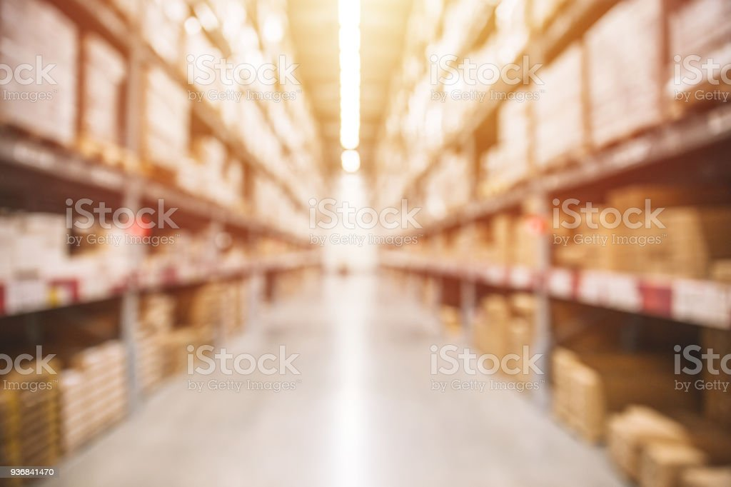 Blur Warehouse inventory product stock for logistic background stock photo