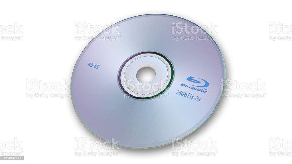 Blu-Ray Disc on white background stock photo