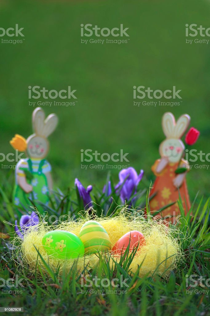 'blured easter bunny background' with copyspace royalty-free stock photo