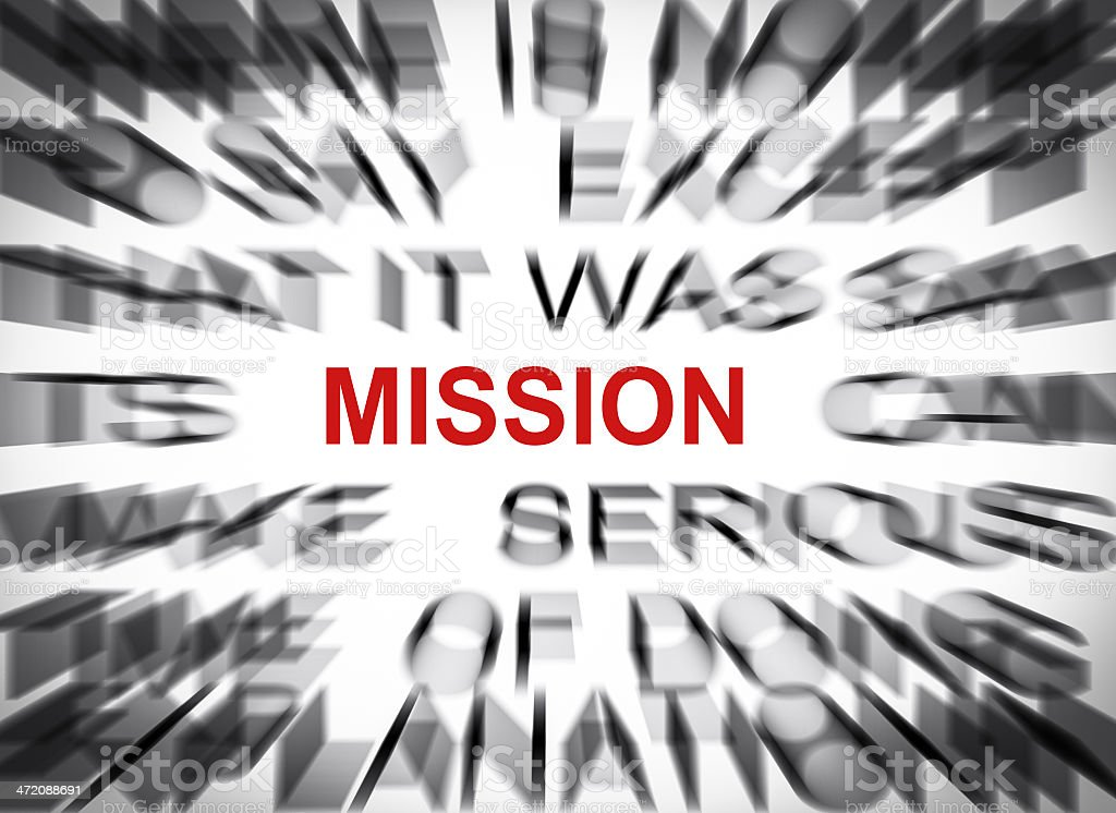 Blured text with focus on MISSION royalty-free stock photo