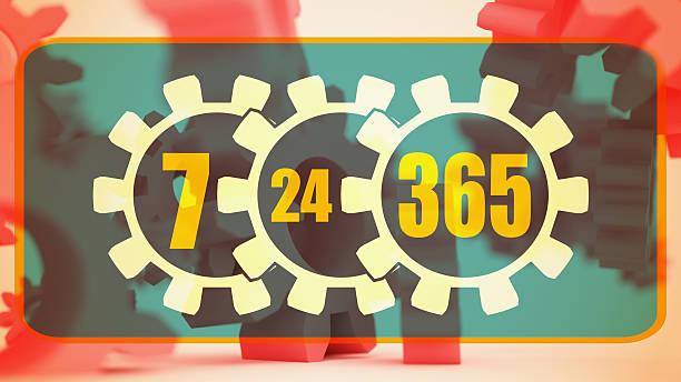 Desfocado cogwheels 3d levitação. 7-24-365 modo de horário de funcionamento - foto de acervo