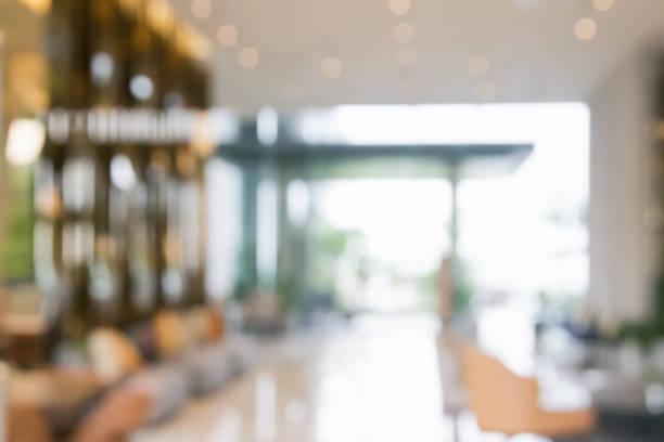 blurred abstract background interior view inside reception hotel or modern hallway for background - hotel reception zdjęcia i obrazy z banku zdjęć