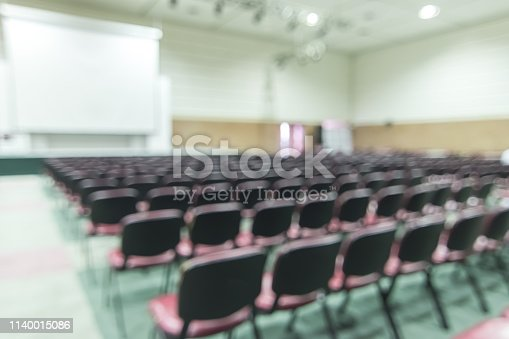 istock Blurred abstract background of business or educational conference and seminar in auditorium hall 1140015086