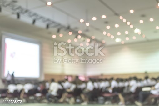 istock Blurred abstract background of business or educational conference and seminar in auditorium ha 1142928272