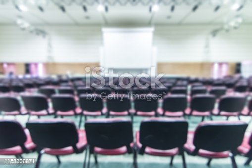 istock Blurred abstract background of business or educational conference and seminar in auditorium hall 1153306671