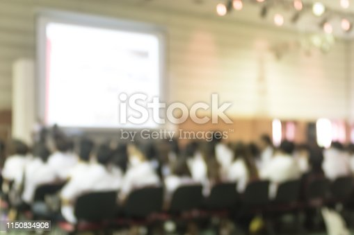 1158085965 istock photo Blurred abstract background of business or educational conference seminar in auditorium hall 1150834908
