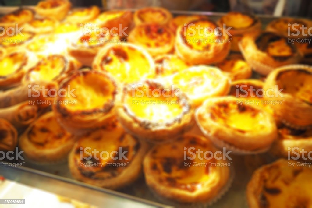 Blurred abstract background of Dessert egg tarts stock photo