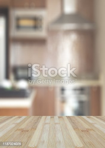 istock Blurred abstract background of kitchen interior. Blurry image of cooking room in house or apartment. 1137024025