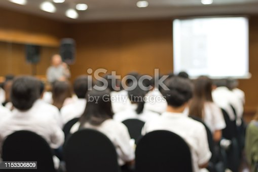 istock Blurred abstract background of university students sitting in a lecture room with teacher and white projector slide screen in front 1153306809