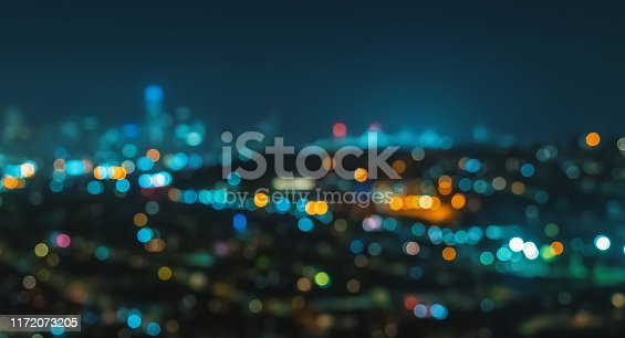 Blurred abstract bokeh background of San Francisco city lights at night