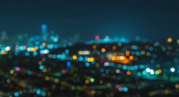 Blurred abstract bokeh background Blurred abstract bokeh background of San Francisco city lights at night illuminated stock pictures, royalty-free photos & images