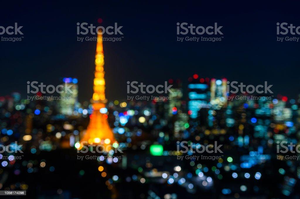 Unscharfe abstrakte Tokyo Tower Stadtbild – Foto