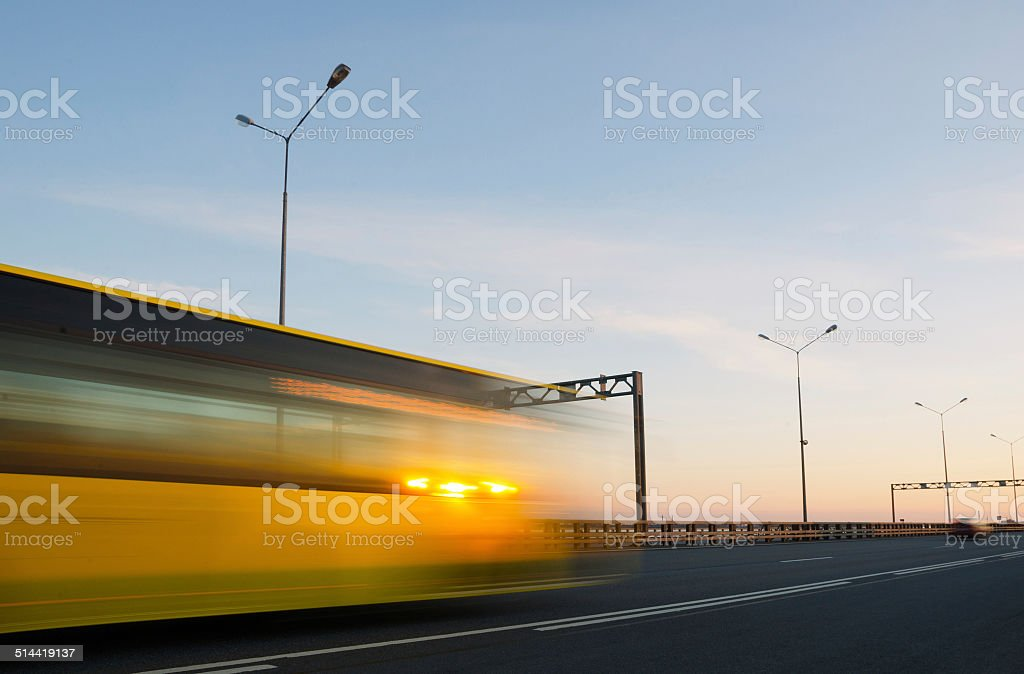 blurred action from car at high speed stock photo