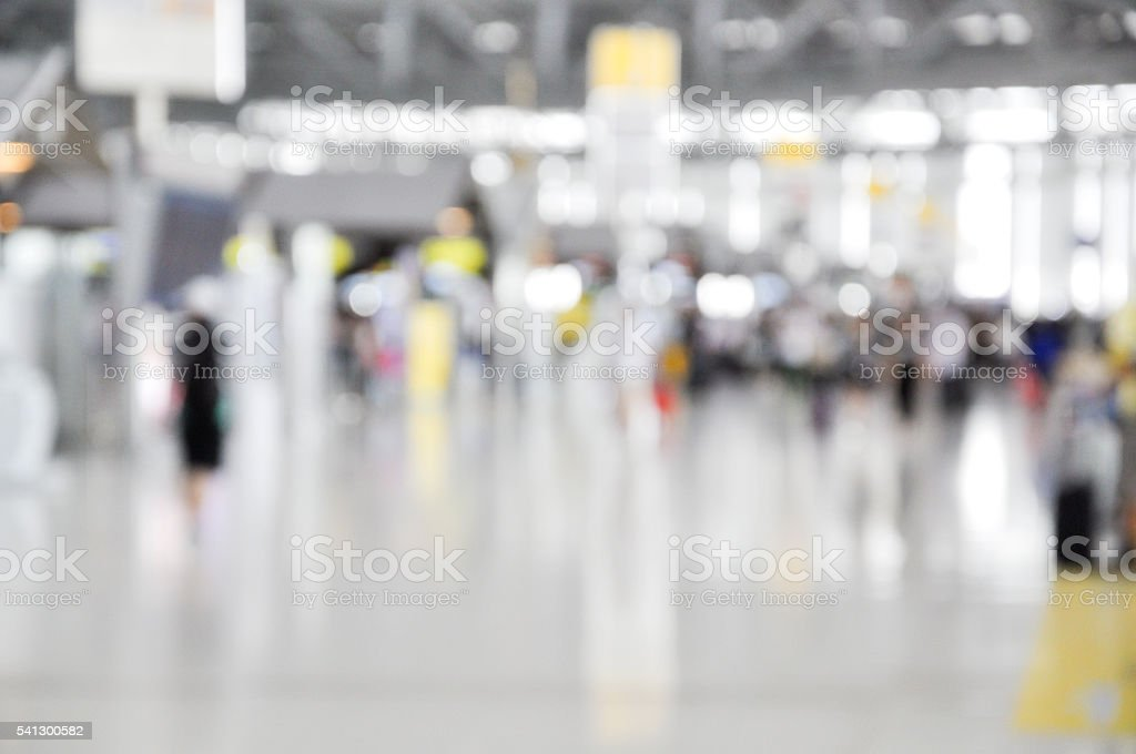 Blurred background at airport terminal with bokeh light stock photo
