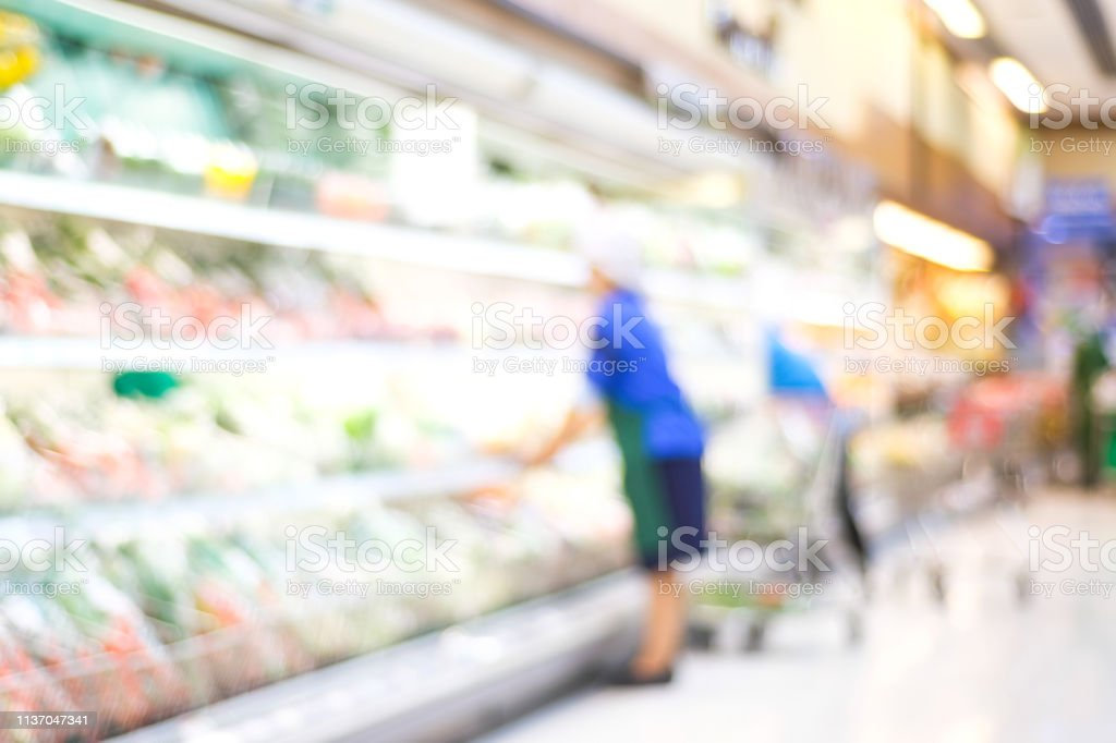 Blurred background, Blur people shopping at product shelf in...