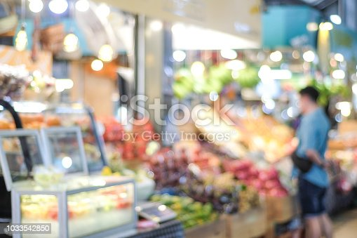 823709528 istock photo Blurred background, blur supermarket, grocery store with people, business background concept 1033542850