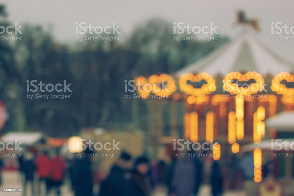 Blurred background Christmas fairy lights. stock photo