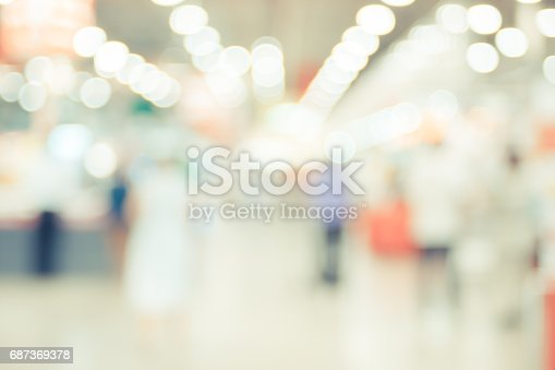 istock Blurred background ,Customer shopping at supermarket store with bokeh light 687369378