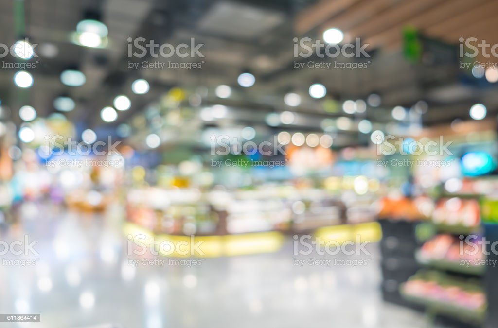 Blurred background, Customer shopping at supermarket store with stock photo