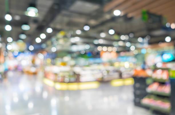 blurred background, customer shopping at supermarket store with - dagligvaruhandel, hylla, bakgrund, blurred bildbanksfoton och bilder