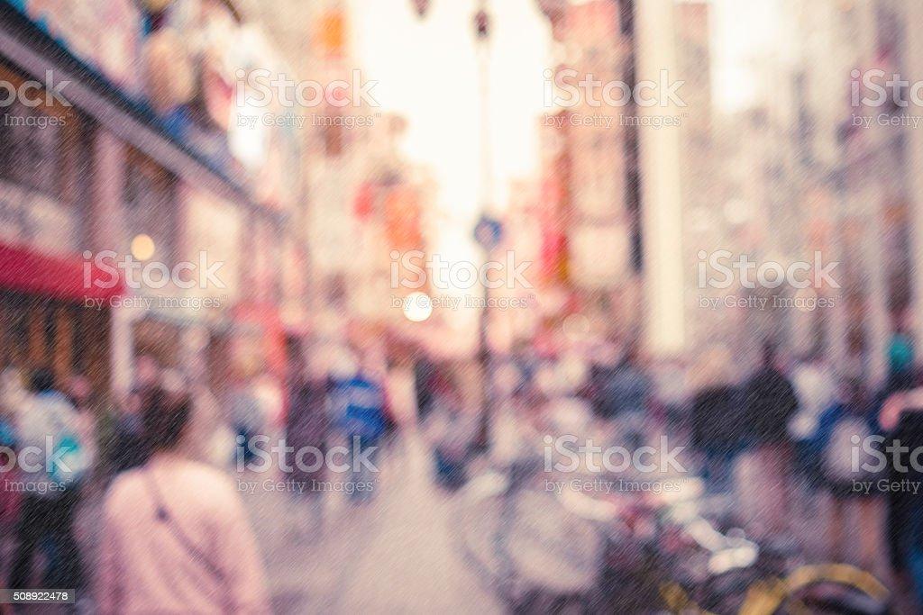 Blurred background - Dotonbori street in Osaka,Japan. Raining stock photo