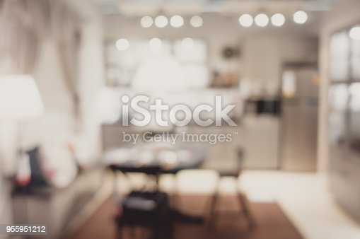 istock Blurred background modern kitchen and dinning room in house with bokeh light.lifestyle backdrop. 955951212