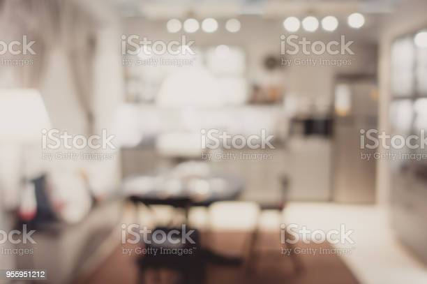 Blurred background modern kitchen and dinning room in house with picture id955951212?b=1&k=6&m=955951212&s=612x612&h=ccncstfr1ps ehv1owou6bqwaa ictcx4yrxagahjik=